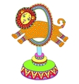 colored line art drawing of circus theme - a lion vector image