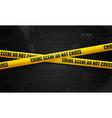 Crime scene tape on black vector image