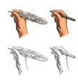 female hand holding a goose feather and pencil vector image