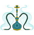 hookah with arabic pattern and smoke vector image