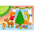 kids and animals on Christmas vector image