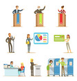 political candidates and voting process series of vector image