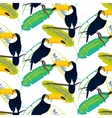 Toco toucan bird on banana leaves seamless vector image