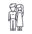 young couple in love line icon sign vector image