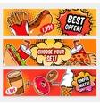 Food Comics Banner Set vector image