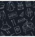 Restaurant doodle seamless pattern vector image