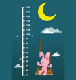 meter wall with rabbit on swing hanging vector image