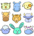 collection of animal head doodle style vector image