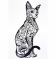 vintage style cat with body flash art tattoos vector image