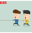 Two businessmen playing tug of war vector image