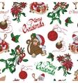 Merry Christmas Santa Mistletoe Seamless vector image