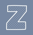 Z alphabet letter with white polka dots on blue vector image