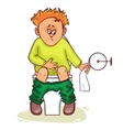 Ill little man with stomach issues sit on lavatory vector image