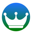 king crown sign white icon in bluish vector image