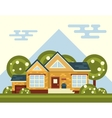 Summer Landscape With House and Tree in vector image