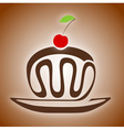 chocolate cake with cherry vector image