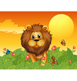 A lion and the butterflies vector image