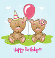 greeting card two cute cartoon bears vector image