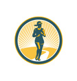 Female Marathon Runner Circle Retro vector image vector image