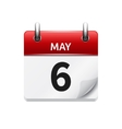 May 6 flat daily calendar icon Date and vector image
