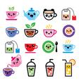 Kawaii tea tea pot ice tea cute characters vector image