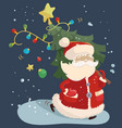 santa claus with a fir tree vector image