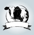 Vintage label with cow vector image