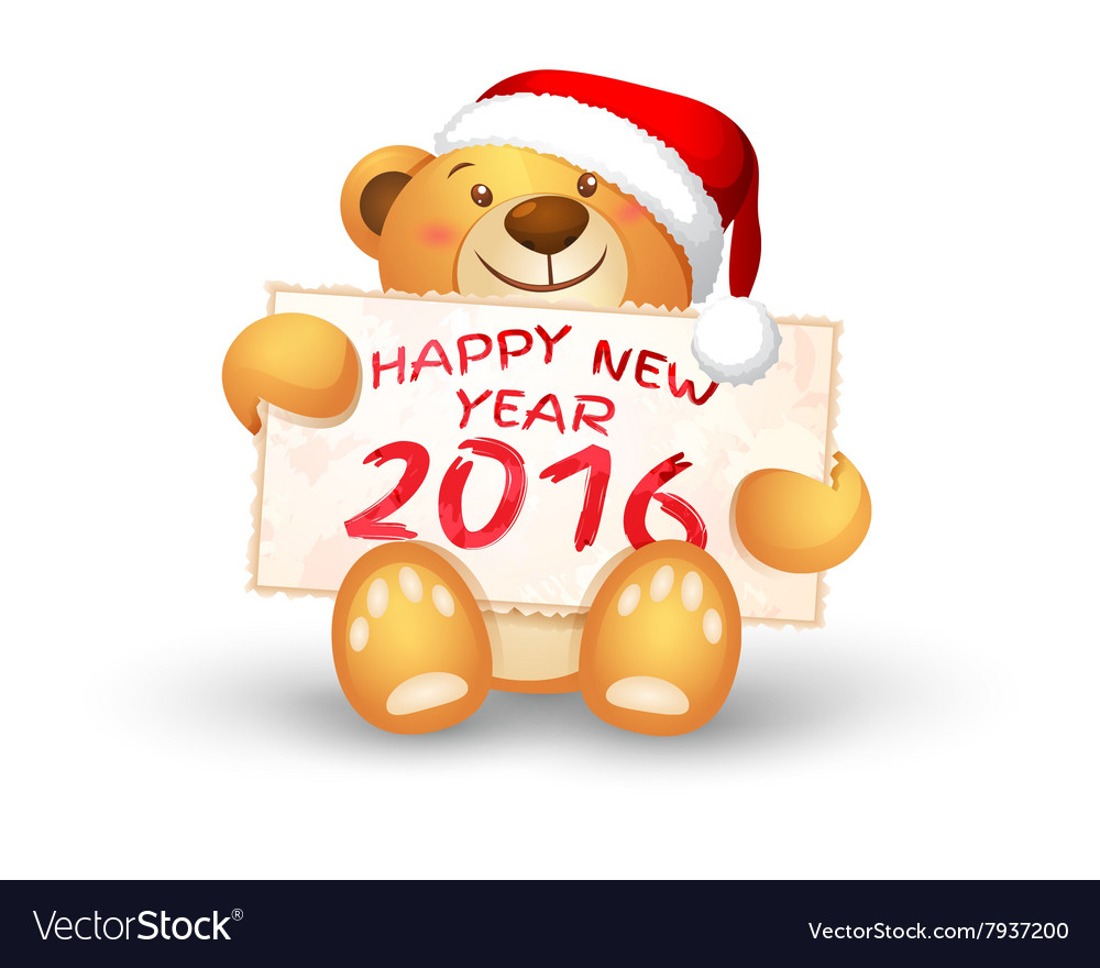 Cute christmas teddy bear with the 2016 vector