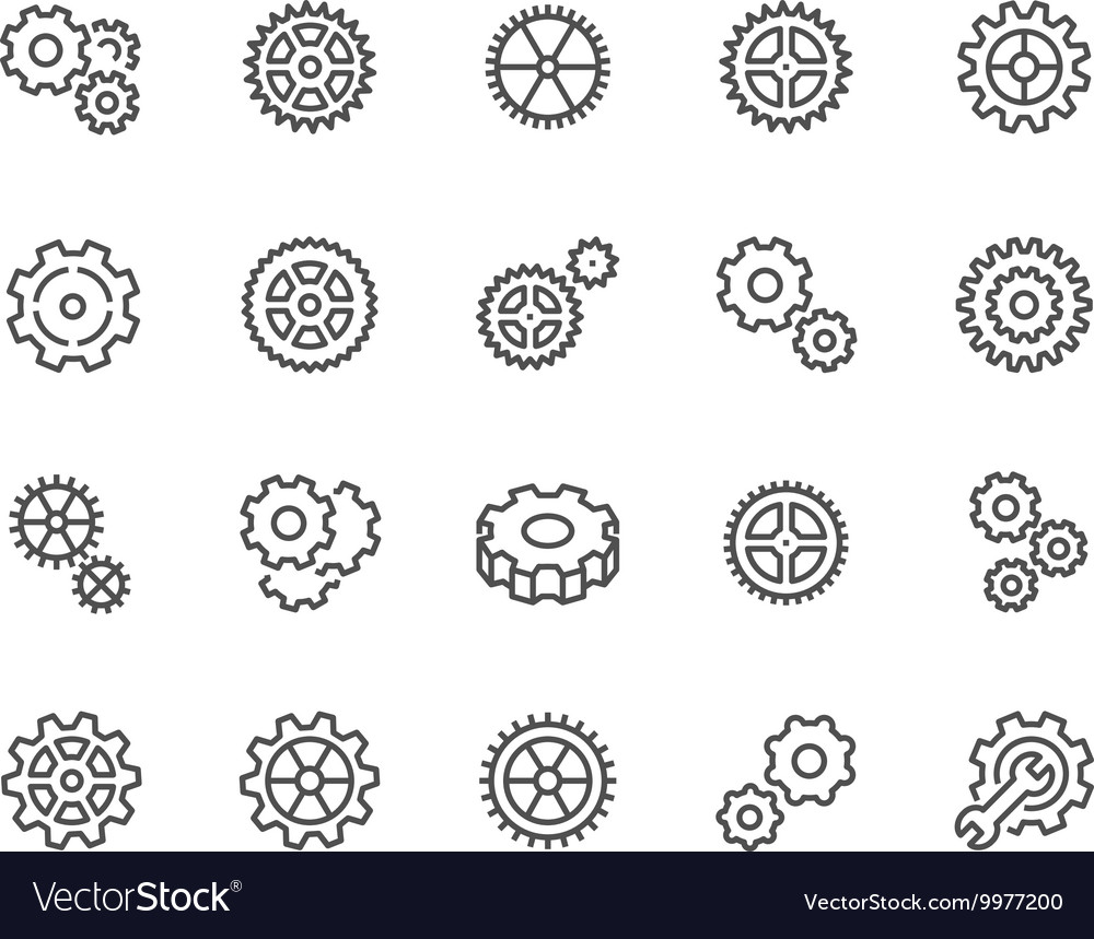 Line gear icons vector