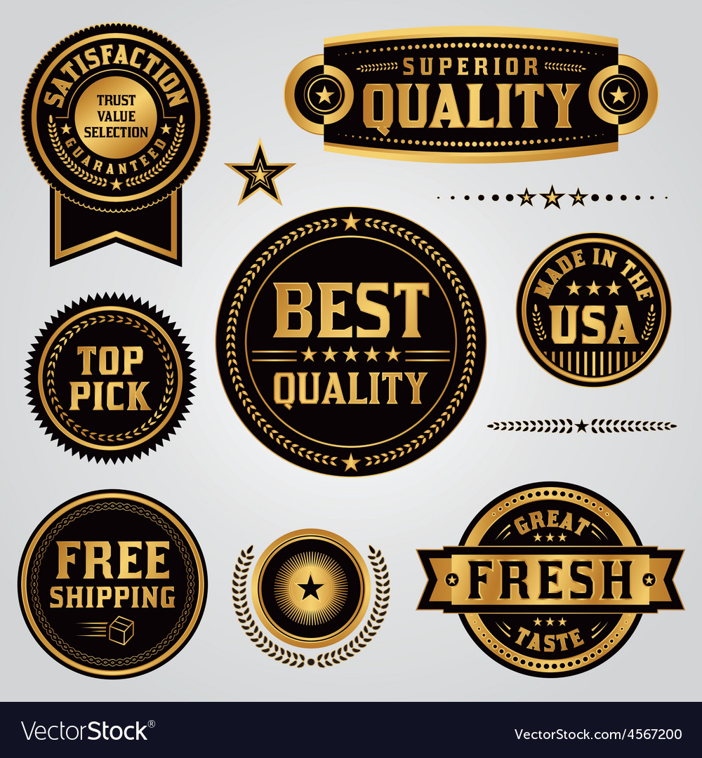 Quality and satisfaction badges and labels set vector