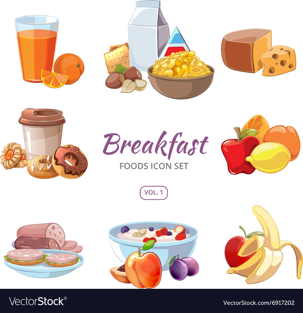 Breakfast food icons in cartoon style vector