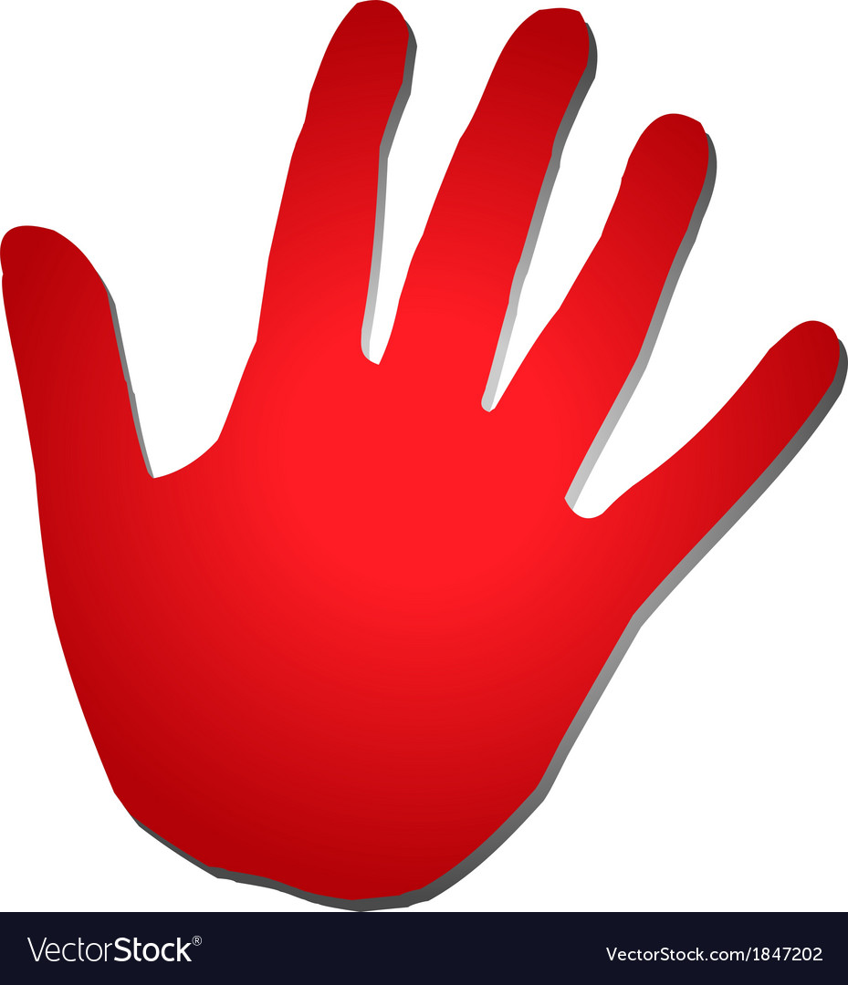 Red five hand vector