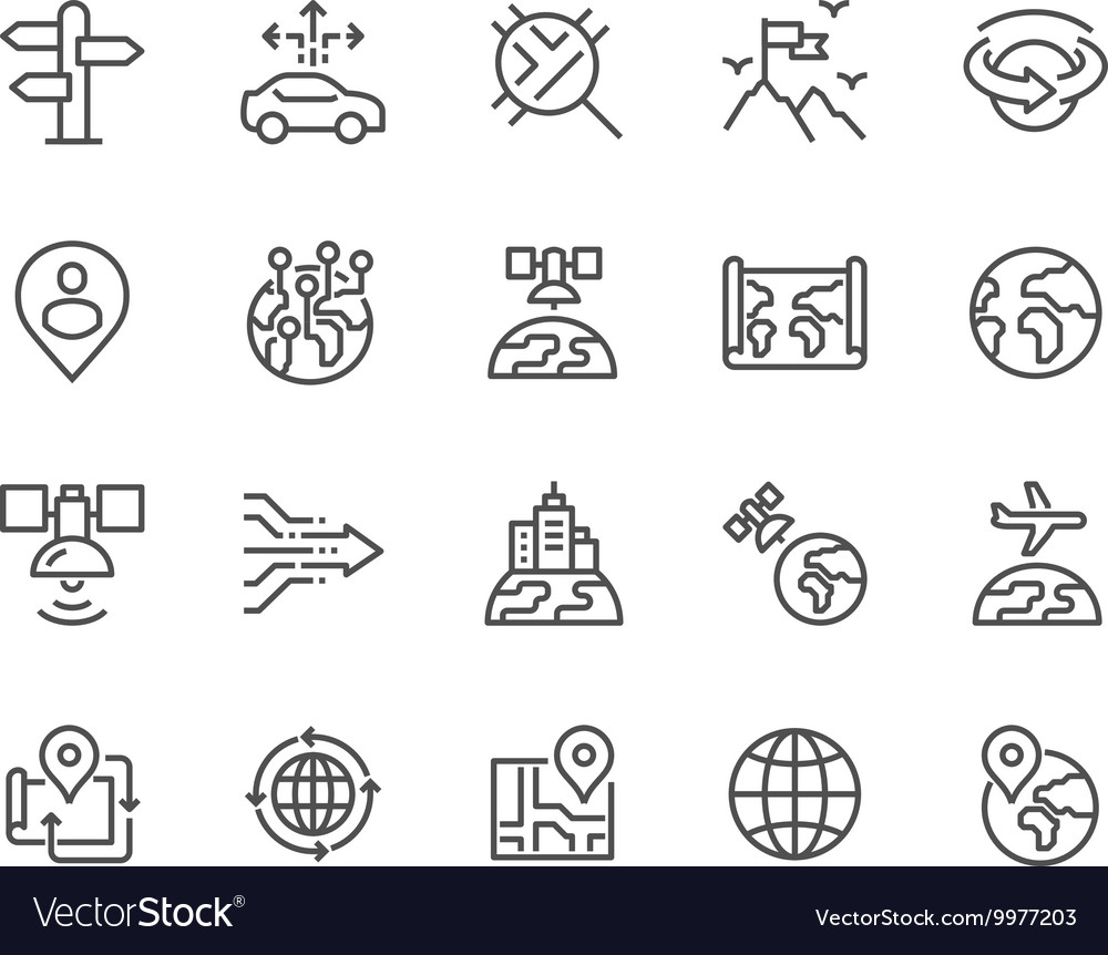 Line global navigation icons vector