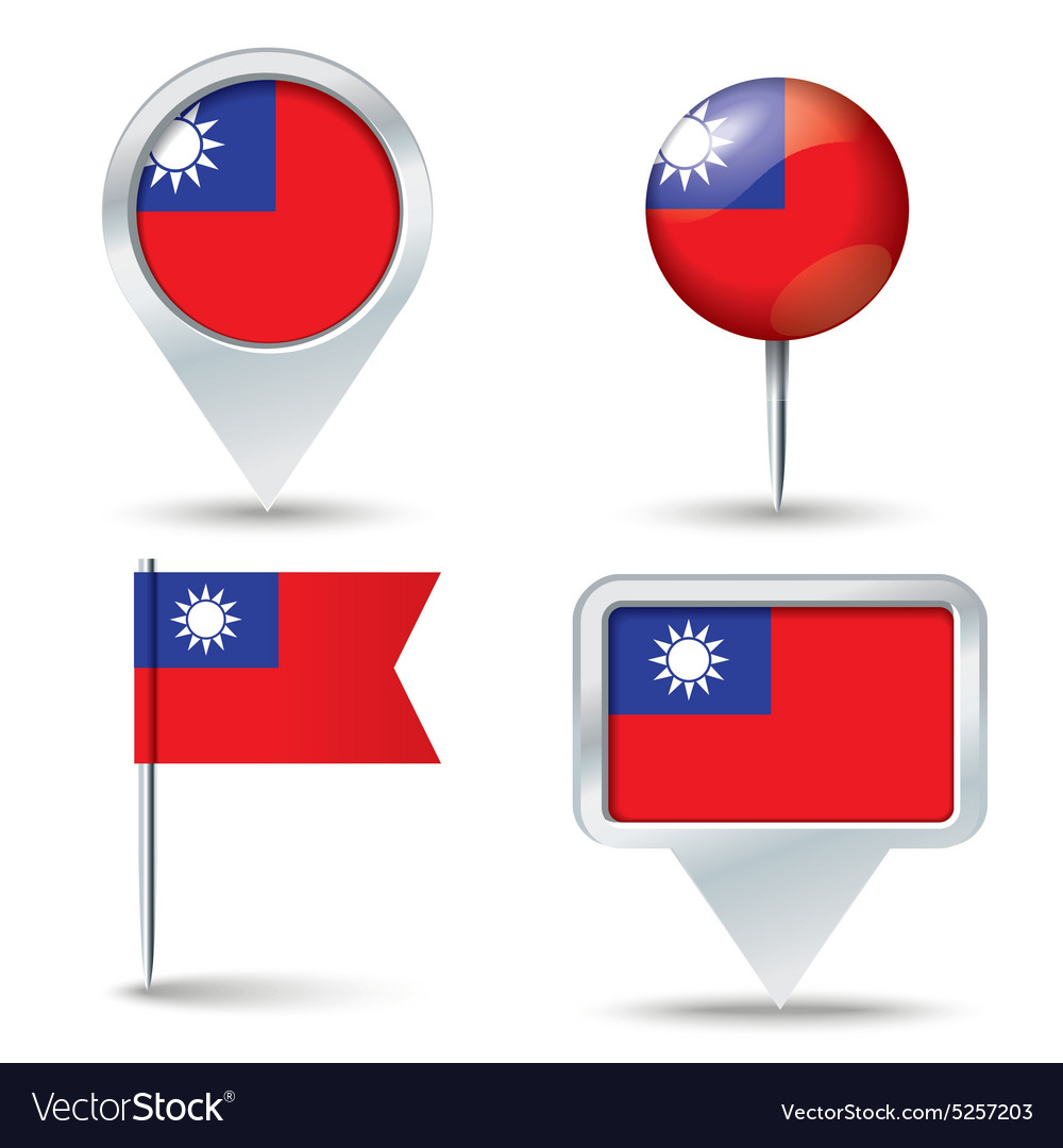 Map pins with flag of taiwan vector
