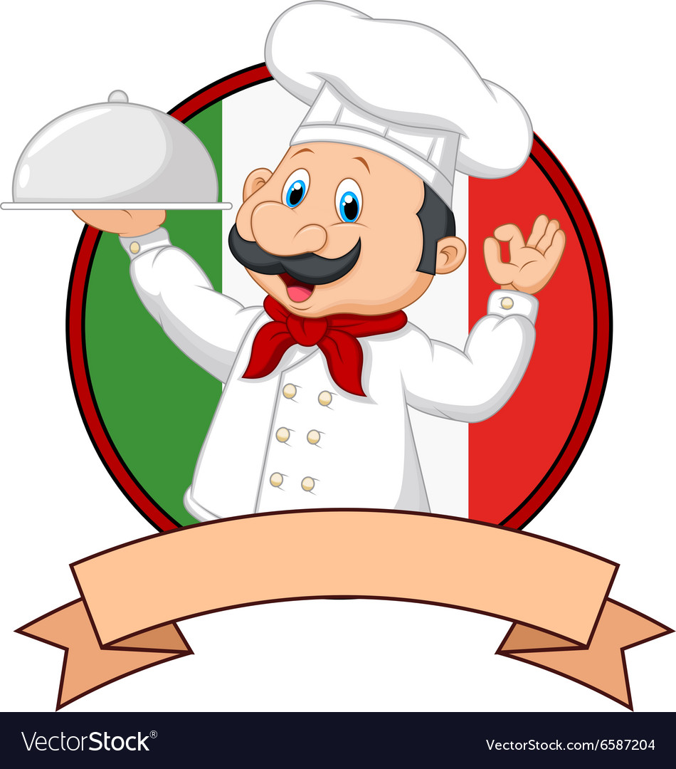 Cartoon funny italian chef cartoon holding platter vector