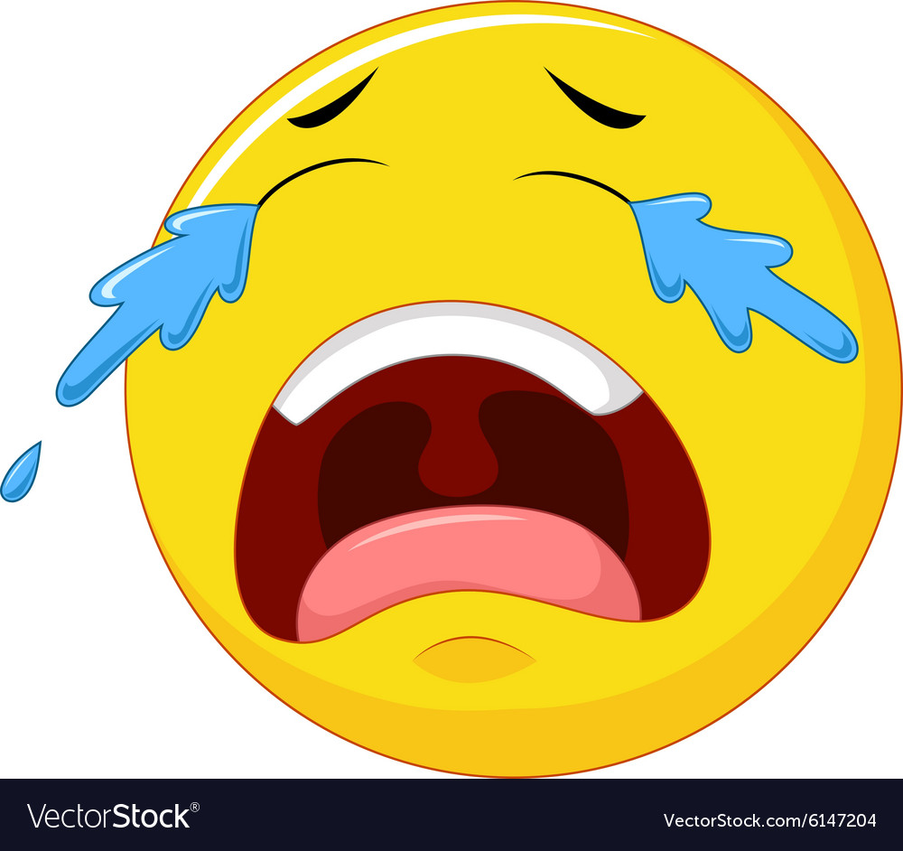 Crying emoticon smiley face character with tears vector
