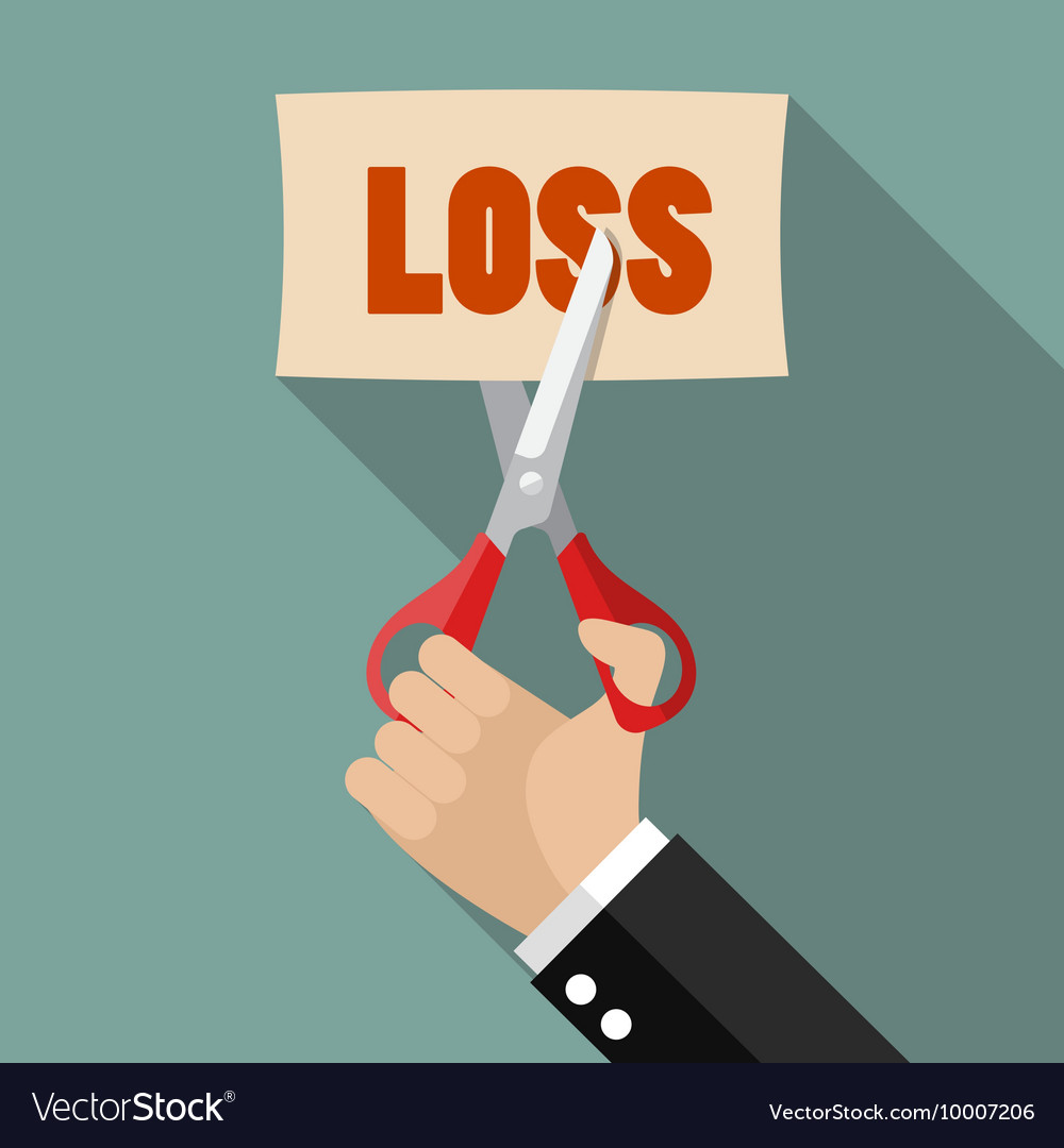 Businessman cut loss vector