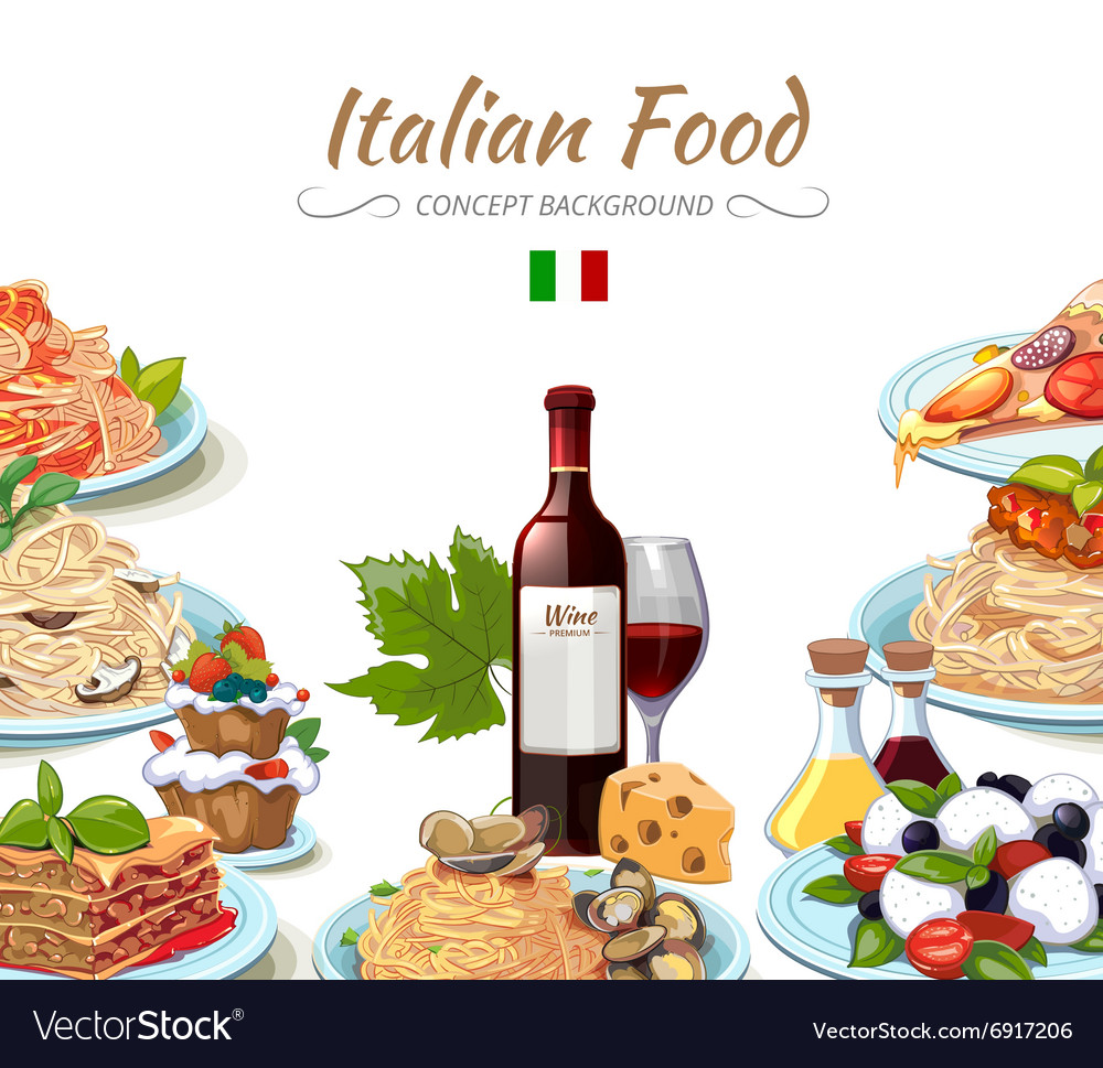 Italian cuisine food background vector