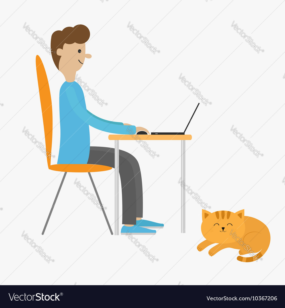 Profile man at desk with leptop guy working on vector