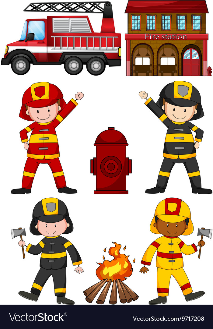 Fire fighters and other equipments vector