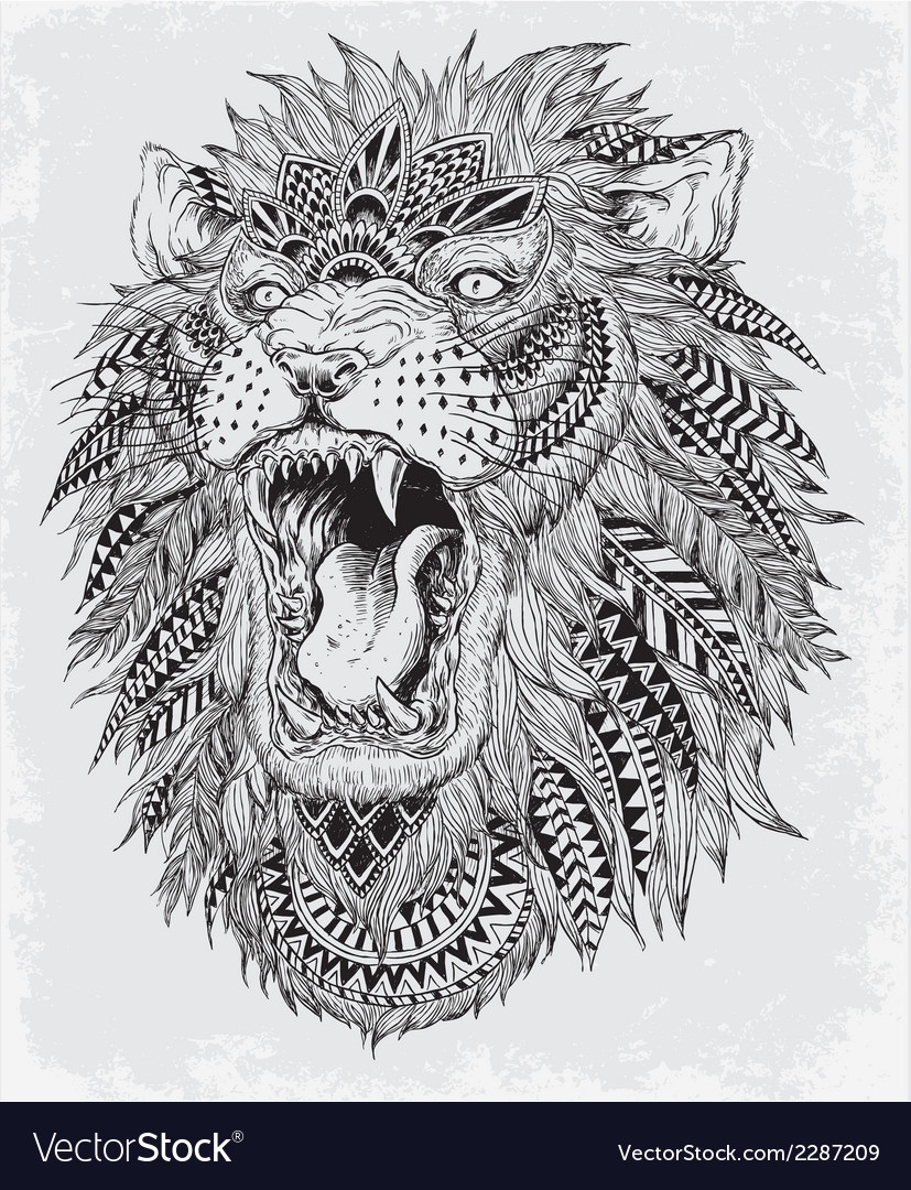 Hand drawn abstract lion vector