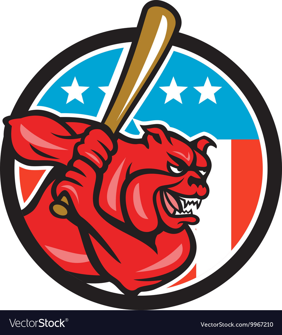 Bulldog baseball batting usa circle cartoon vector
