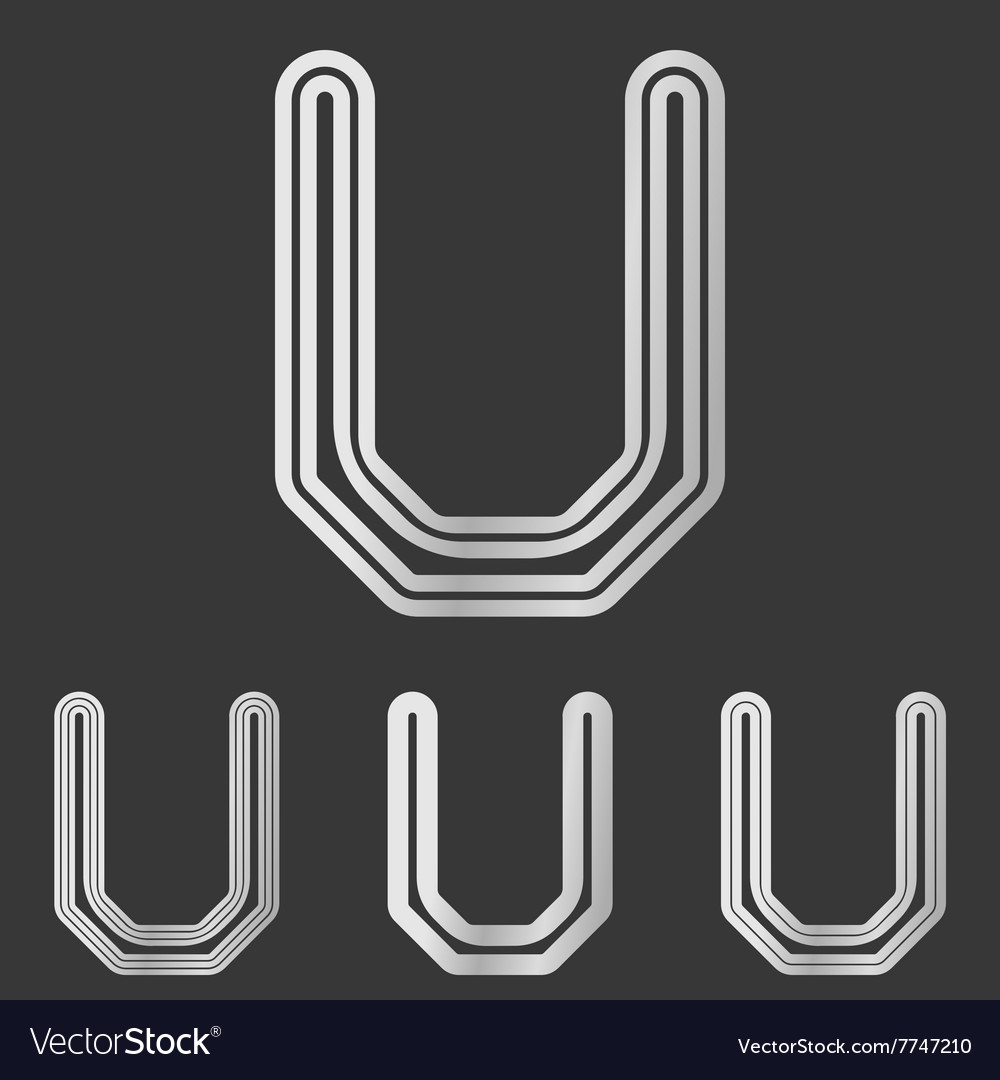 Silver line u logo design set vector