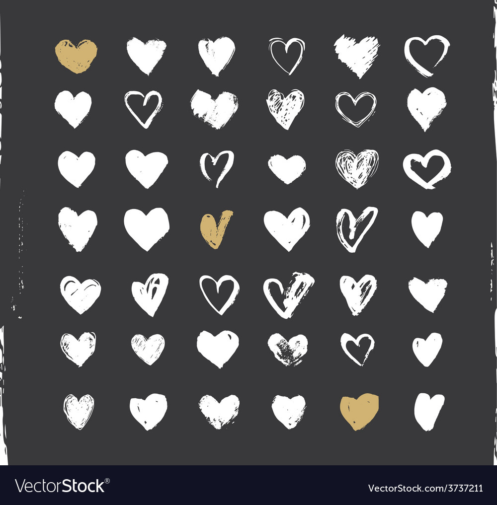 Heart icons set hand drawn ions and vector