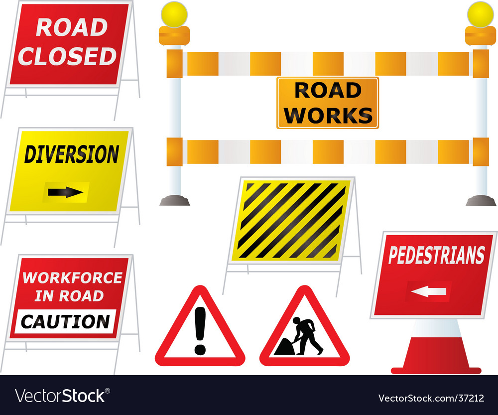 Road work signs vector