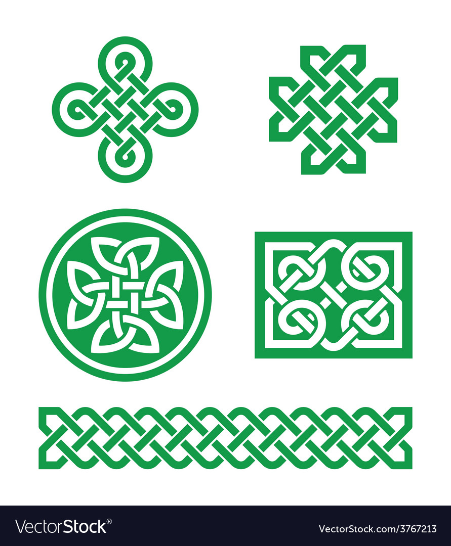Celtic knots braid patterns  st patricks day vector