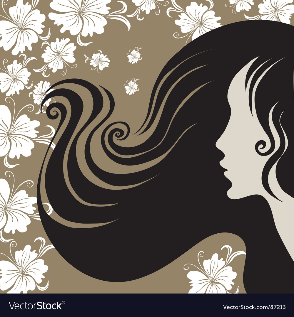 Closeup vintage woman with beautiful long hai vector