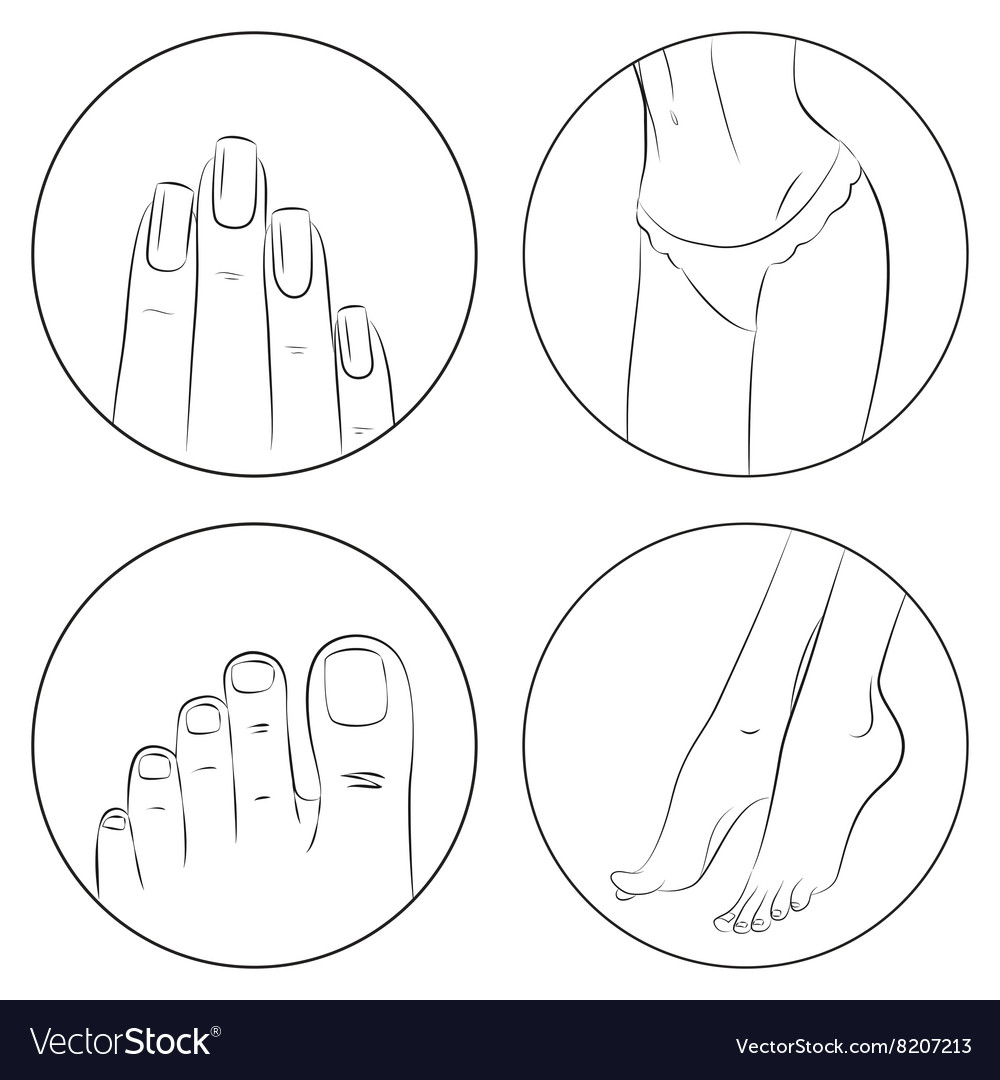 Manicure pedicure and bodycare concept icon set vector