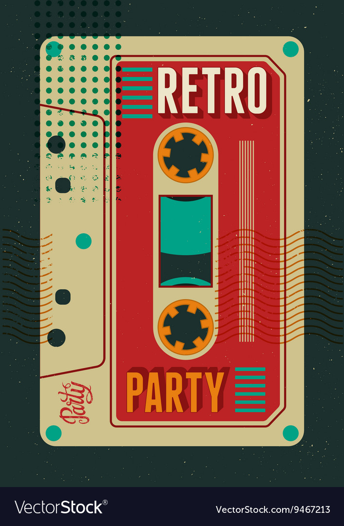 Typographic retro party poster design vector