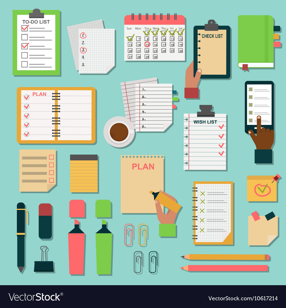 Agenda business notes set vector